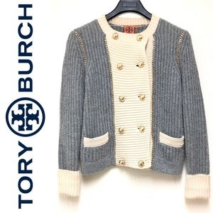 Tory Burch Alpaca Wool Double Breasted Cardigan